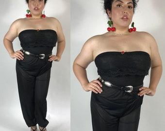 "Vintage 1980s Black Semi Sheer Rose Strapless Lace Cinched Jumpsuit size S - L (bust 30"" - 40"")"