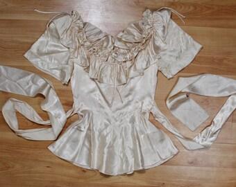 70s Amy Rose California romantic cream floral corset style ruffle top size S