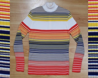 70s Alex Coleman Sportswear ribbed and stripped long sleeve turtle neck size M