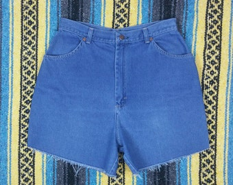 "Vintage Sears Blue High Waisted Denim Jean Frayed Cut Off Shorts size L (waist 29"")"