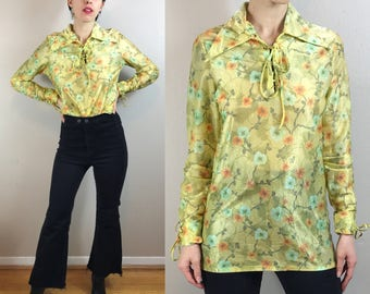 Vintage 70s Remetex groovy green floral collared long sleeve blouse ~ size medium