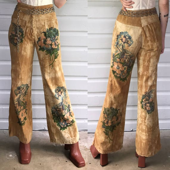 Vintage 1970s Tan Hand Painted High Waisted Jeans