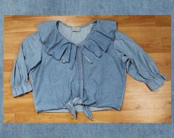 "90s ""Extra Pretty"" romantic ruffle denim button up blouse size 2XL"