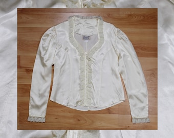 70s / 80s Circle T by Marilyn Lenox romantic Edwardian  lace white / cream silk blouse size medium