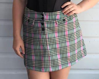 "Vintage 1990s Jazz Sport groovy green & pink plaid mini skirt size ~ medium / 28"""