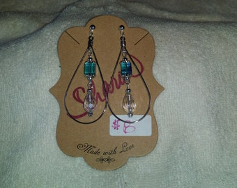 Auqa and Clear Crystals Tear Drop Earrings