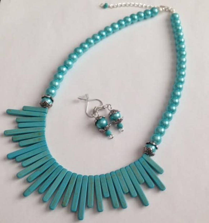 Turquoise Necklace Turquoise Bib Necklace Ships From USA Cowboy Necklace Southwestern Turquoise Stone Necklace Cowgirl Necklace