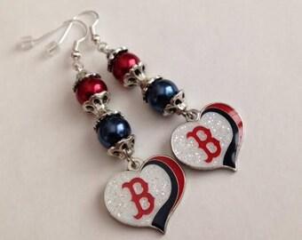 Sale, Baseball,Boston Red Sox Inspired Earrings,Boston Red Sox Jewelry, Red Sox Earrings, Red Sox Jewelry, Baseball Earrings, Ships From USA
