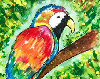 """Painting: """"Tropical Parrot"""" (8 x 10 Inches)"""