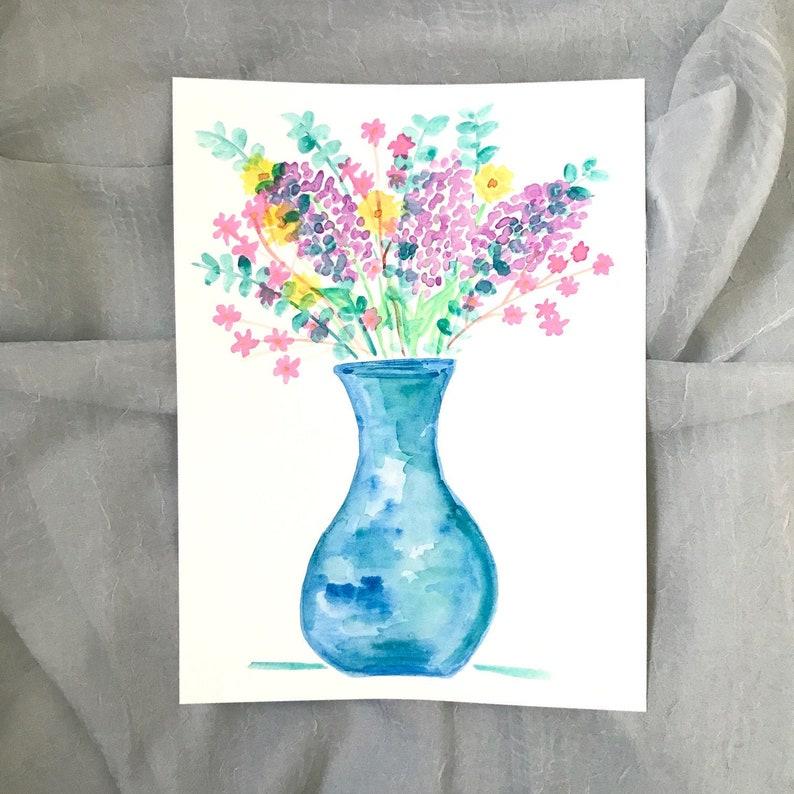 Pastel Colorful Floral Art Original Painting on Paper Floral Vase 2
