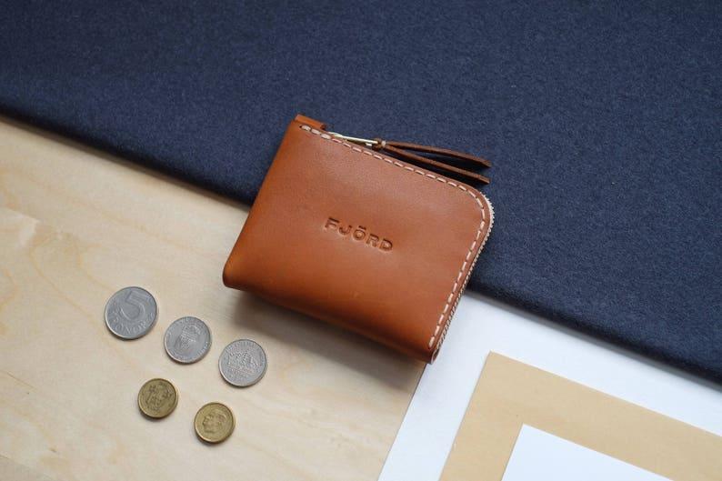 Halfzipwallet ginger / Zipper wallet / Small leather wallet image 0