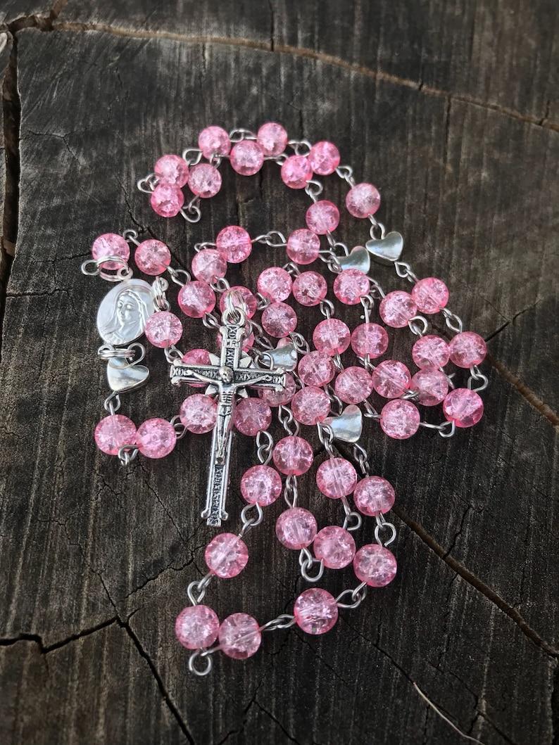 Pink Catholic Rosary Beads Womens Rosary Girls Rosary | Etsy