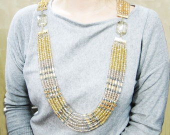 Multi Strand Crystal Long Necklace