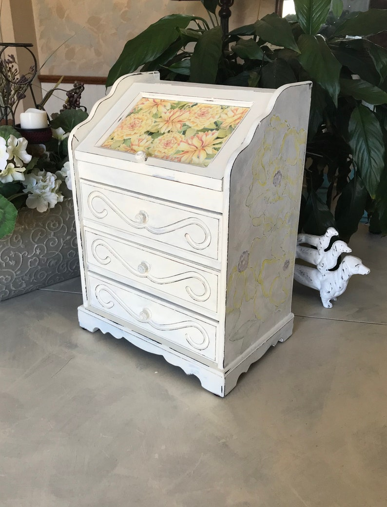 French Country Vintage Jewelry Box  Upcycled Shabby Chic Jewelry Armoire  Chalk Painted Wooden Jewelry Chest  OOAK Farmhouse Decor
