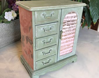 Vintage Wooden Jewelry Box / Upcycled Painted Jewelry Armoire / OOAK Designers Jewelry Chest / Womens Gifts