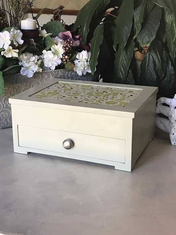 Shabby Chic Jewelry Armoire  Upcycled Vintage Jewelry Box  OOAK Chalk Painted Wooden Jewelry Storage  Womens Gifts  Jewelry Organizer