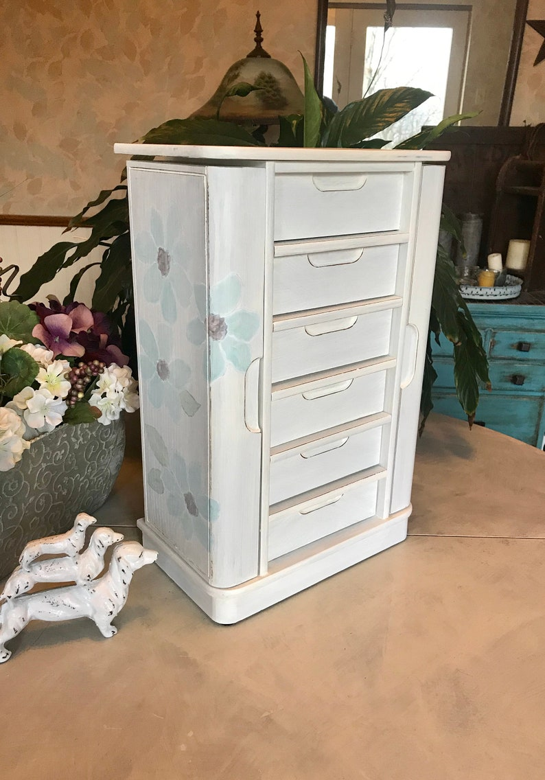 Upcycled Vintage Jewelry Armoire  Shabby Chic Wooden Jewelry Box  French Country Chalk Painted Jewelry Organizer   Farmhouse  Chest