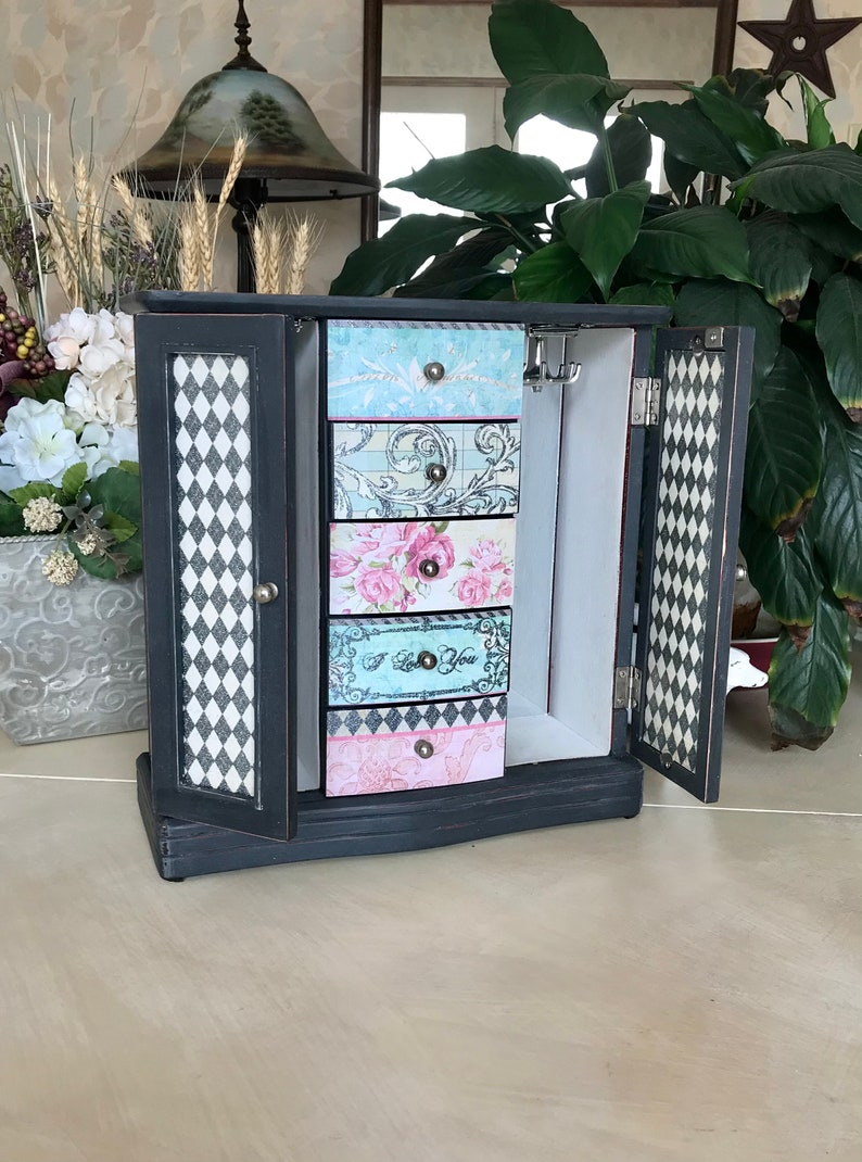 Upcycled Vintage Shabby Chic Jewelry Armoire  French Country Jewelry Box  Farmhouse Cottage Style Chalk Painted Wooden Jewelry Storage