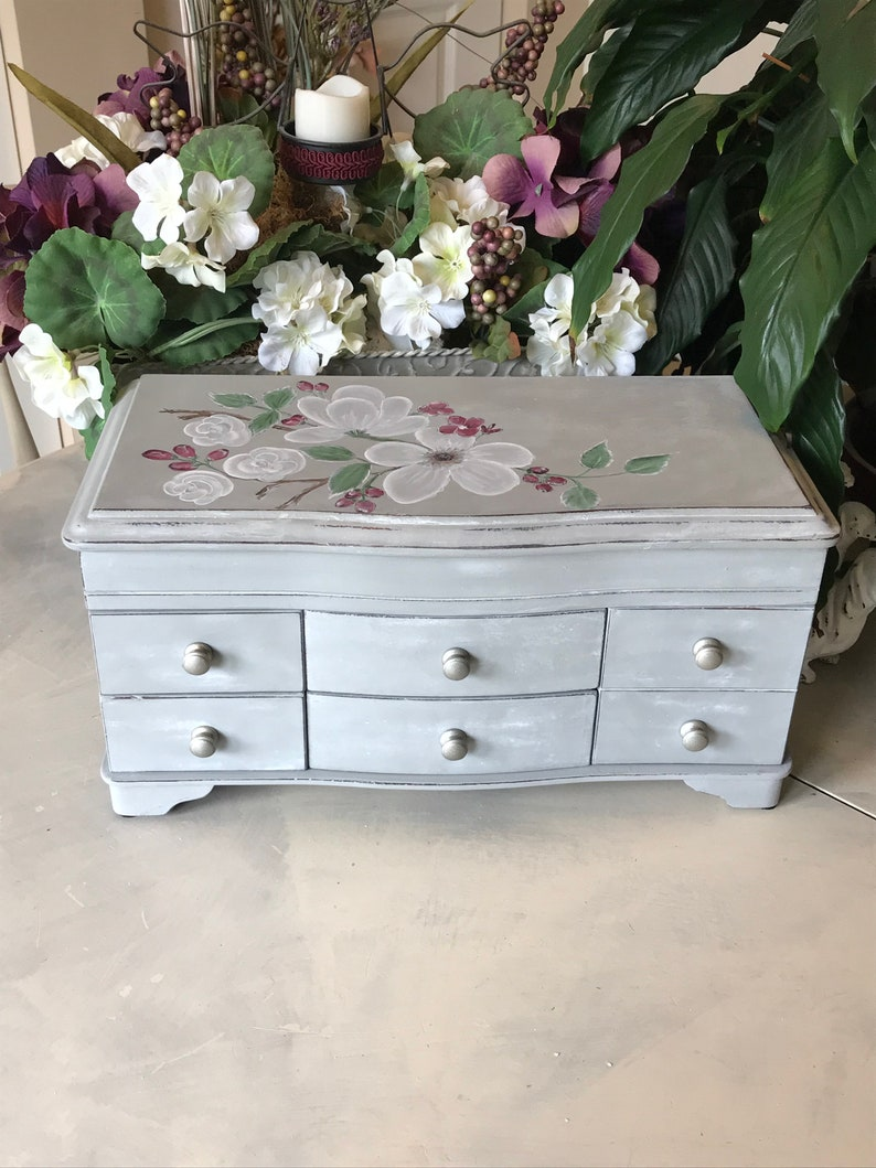French Cottage Jewelry Chest  Upcycled Vintage Jewelry Box  Shabby Chic Chalk  Painted Wooden Jewelry Storage  OOAK Farmhouse Decor