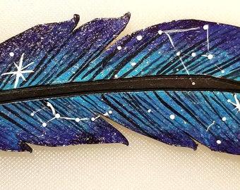 Galaxy Feather Bun Pin