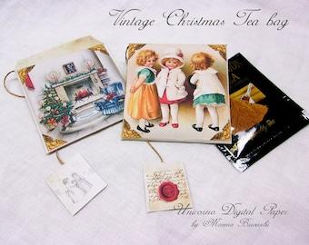BUSTINE porta té digitali e stampabili, Vintage Christmas Tea bag, porta bustine te, Envelope tea bags, bustine tè vuote, bustine per tisane