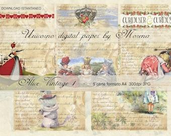 Alice in Wonderland Scrapbook, WALL ART, Carta digitale, Kit per Scrapbooking, Carte per scrapbook, Stampe Murali, Stampa Poster, Art Print
