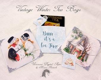 CHRISTMAS TEA BAGS, individual tea bags, tea bag paper, tea party, Mad Hatter tea bags, digital paper, tea envelope printable, tea envelopes