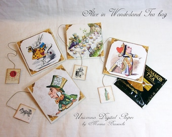 Bustine Porta Tè Digitali e Stampabili - BUSTINE PORTA Tè - Alice in Wonderland Tea Bag -  Porta bustine Tea - Tea Time, Tea Bag Printable