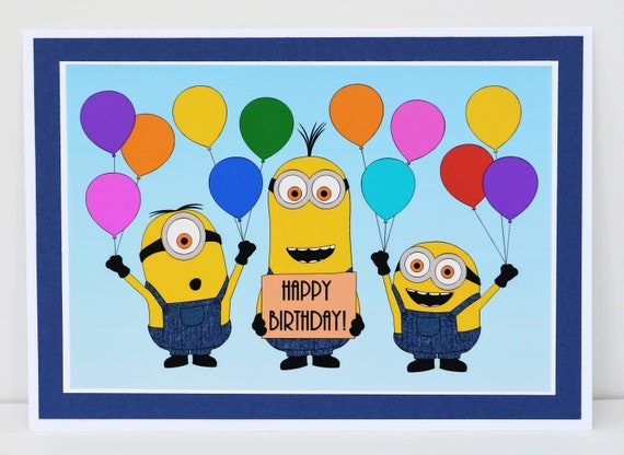 Minions Birthday Card Minions Card Despicable Me Card Etsy