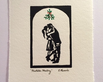 "4""x6"" Linocut, Original Wall Art, Print of Couple Kissing Under Mistletoe, Gifts Under 20, Christmas Gift, Holiday Decor"