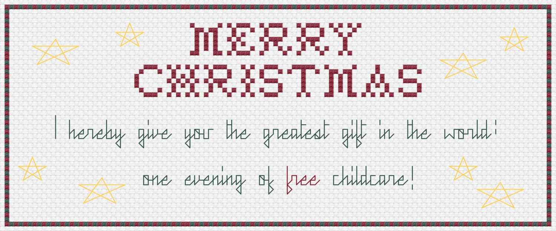 Merry Christmas Babysitting Coupon Cross Stitch Pattern Etsy