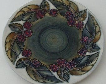 Moorcroft Pottery Bramble Plate Designed By Sally Tuffin