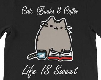 32b9e046 Cats Books and coffee shirt Cat Lover Gift Cat Shirt Book Lover Cat Tshirt  Book Lover Gift Kitten Tshirt Reading Shirt, Funny Cat Shirt