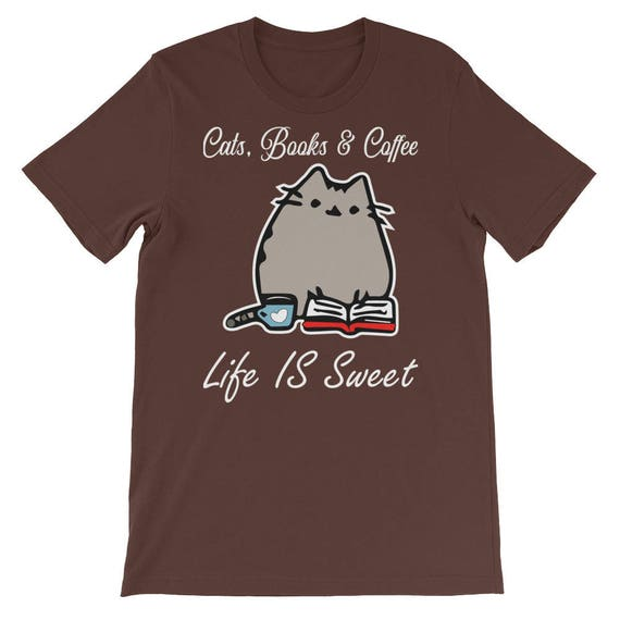 b0612df8 Cats Books and coffee shirt Cat Lover Gift Cat Shirt Book   Etsy