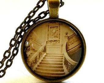 Titanic Necklace | Glass Pendant | Titanic Photo | Titanic Stairs | Free Gift Box | Gothic Jewelry | Halloween Necklace