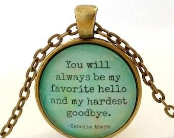 Goodbye Quote | Quote Necklace | Saying Goodbye | Pendant | Cecelia Ahern Quote | My Hardest Goodbye | Free Gift Box | Goodbye Gift