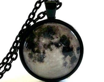 Collar de la luna | Colgante de cristal | Collar de luna llena | Idea de regalo | Favores del partido | Luna joyas | Caja de regalo | Collar de Halloween