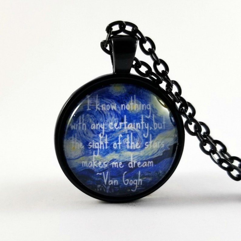 Collier De Devis Van Gogh Nuit étoilée Collier Citation De Stars Citation De Rêve
