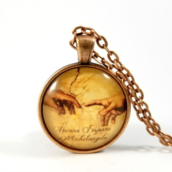 Ancora Imparo Michelangelo Quote Necklace Glass Pendant Etsy
