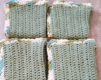 Crocheted Washcloth, Crocheted Dishcloth, Crocheted Washrag, Crocheted Dishrag, 100% Cotton
