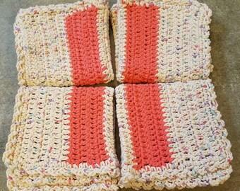 100% Cotton, Crocheted Washcloth, Crochet Dishrag, Handmade, Washcloth, Dishrag, Dish Cloth