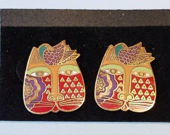 """Vintage Laurel Burch Earrings, Laurel Burch """"Mariah"""" earrings, pierced earrings,"""