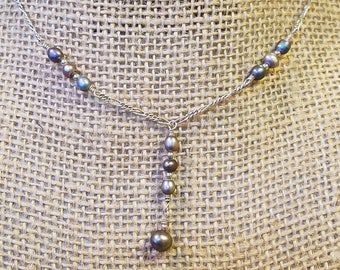 Vintage Sterling Pearl Pendant/necklace, sterling necklace, sterling pearl necklace