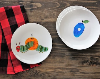 What A Hungry Caterpillar - Hand painted dessert plates - set of 4