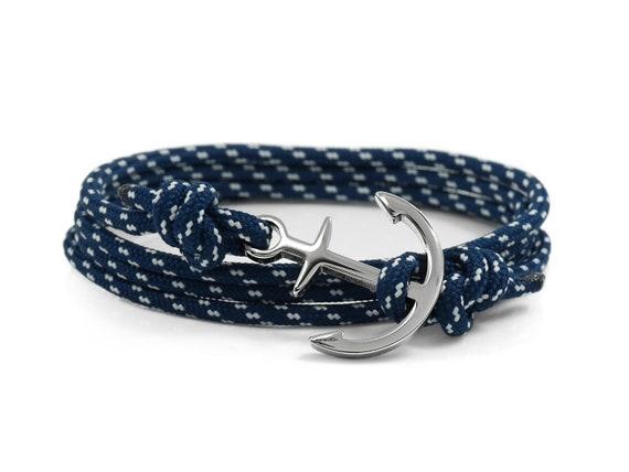 Navy Polka Dots /& Silver Carabiner Bracelet Climber Paracord Rope Adventure