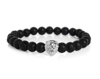Black Lava Stones & Silver Lion Bracelet Gemstone Bracelet Mens Bracelet Womans Bracelet Black Beaded Bracelet Lion Jewellery Lava Bracelet