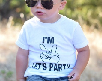 I'm TWO Lets Party/ Boys Second Birthday Shirt/ Turning 2/ Boy Birthday/ Second Birthday/ Two