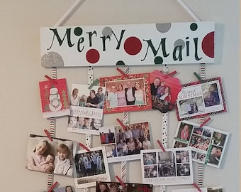 Hand Painted Merry Mail Holiday Card Letter Holder -FREE SHIPPING