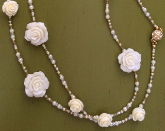 Buttercream Roses and Champagne Necklace