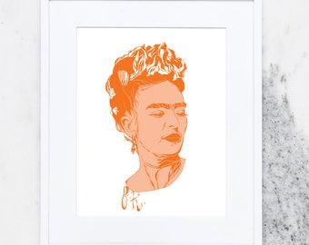 Frida Art Print, Art Prints, Frida Kahlo, Portrait, Mexican Artist, Mexico